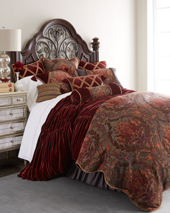 King Merlot Ruched Velvet Duvet Cover, 106