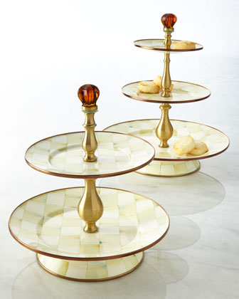 Parchment Check Three-Tier Sweet Stand