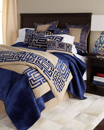 Standard Navy Sham with Applique in Natural