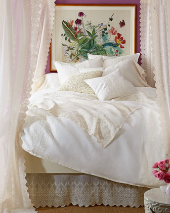 Two King Ruffled White Linen Charlie Pillowcases