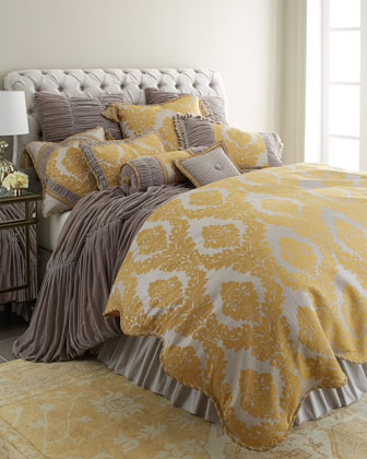 Standard Damask Sham w/ Shirred Silk Sides & Cord Finish