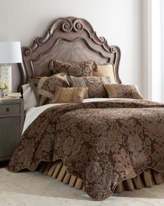 King Sham w/ Floral Center & Ruched Silk Insets