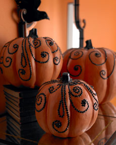 Crystal and Beaded Halloween Pumpkins