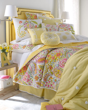 Yellow Pillow with White Scroll Border, 16