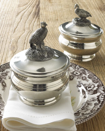 Covered Pewter Bowl with Pheasant