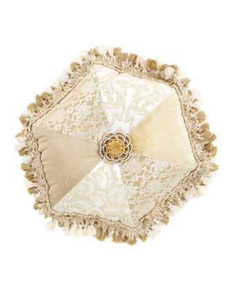 Pieced Tambourine Pillow with Tassel Fringe & Rosette Center, 18
