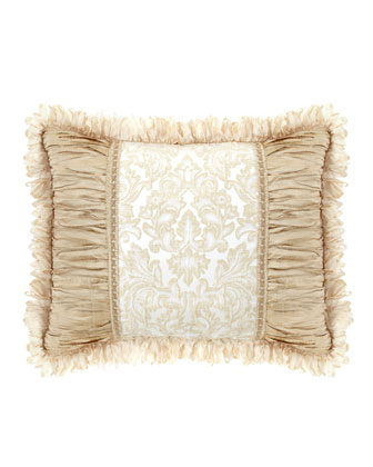Standard Sham with Crushed Silk Sides & Ribbon Loop Fringe