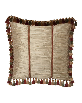 Ruched Silk European Sham w/ Braid Trim & Tassel Fringe