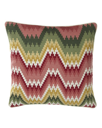 Wave-Stitch Needlepoint Pillow, 18
