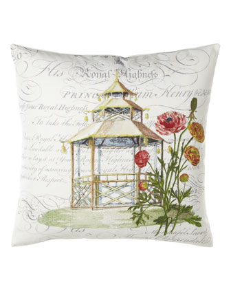 Garden Folly Pillow w/ Script Background, 18